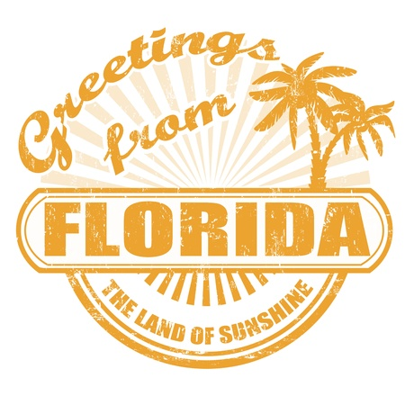 florida state: Grunge rubber stamp with text Greetings from Florida,  illustration