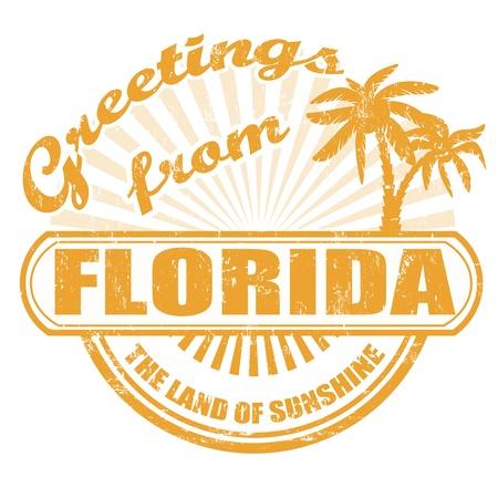 timbre voyage: Tampon en caoutchouc grunge avec le texte Salutations de la Floride, illustration