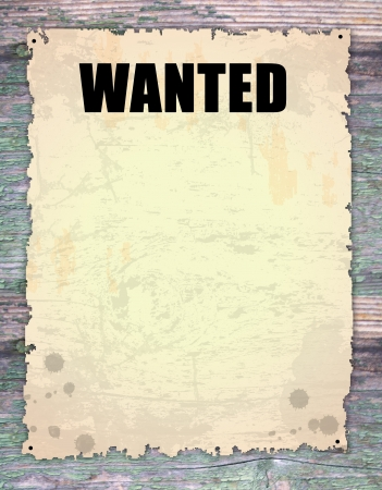 drawingpin:  Antique page - wanted - vintage wanted poster on wooden