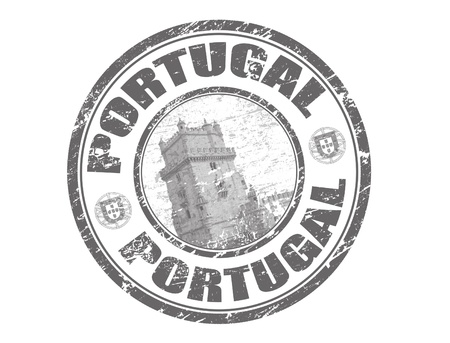 Abstract grunge rubber stamp with tower of belem and the name Portugal written inside the stamp photo