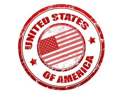 citizenship: Red grunge rubber stamp with the flag of USA and the name of the United States of America written inside the stamp