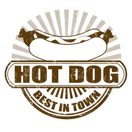 Hot Dog grunge rubber stamp,  illustration Vector