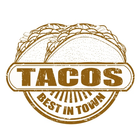 Tacos grunge sello de goma, ilustración