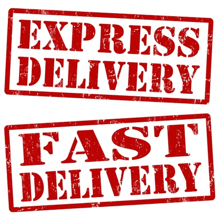 express delivery: Grunge express delivery and fast delivery rubber stamps, vector illustration