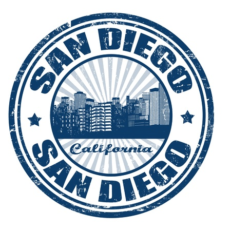 san diego: Grunge rubber stamp with the name of San Diego city from California state in the United States of America