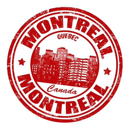 canada stamp: Red grunge rubber stamp with the name of Montreal, a city located in Canada, in the province of Quebec Illustration