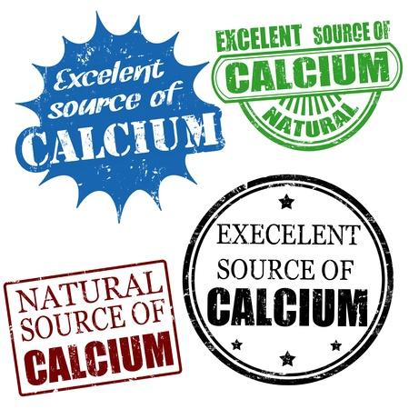 advertiser: Set of excellent source of calcium grunge rubber stamps, vector illustration