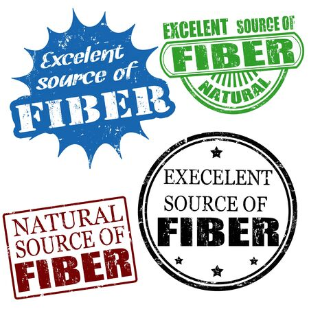 Set of excellent source of fiber grunge rubber stamps, vector illustration Vector