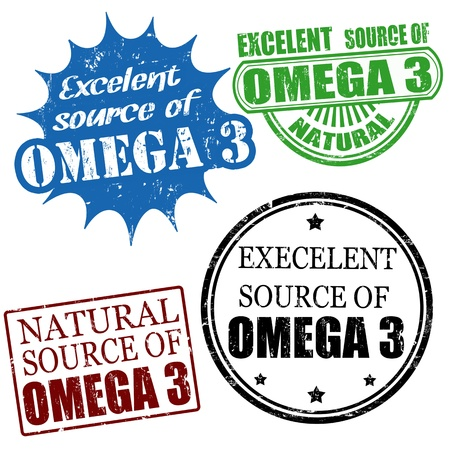 advertiser: Set of excellent source of omega3 grunge rubber stamps, vector illustration Illustration