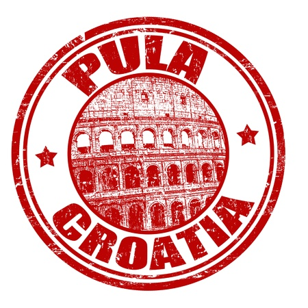 Red grunge rubber stamp with the name of Pula city from Croatia written inside the stamp