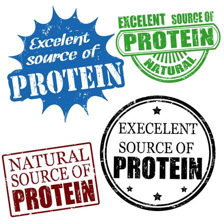 advertize: Set of excellent source of protein grunge rubber stamps, vector illustration