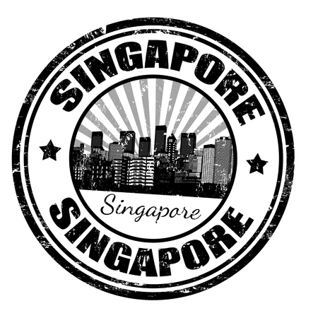 business asia: Black grunge rubber stamp with the name of Singapore city state written inside the stamp
