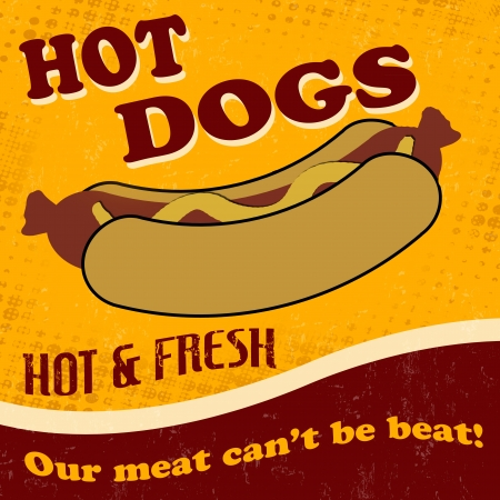 Vintage hot dog retro background, vector illustration Vector
