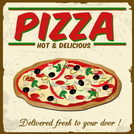 Pizza vintage grunge poster, vector illustration Stock Vector - 20988977