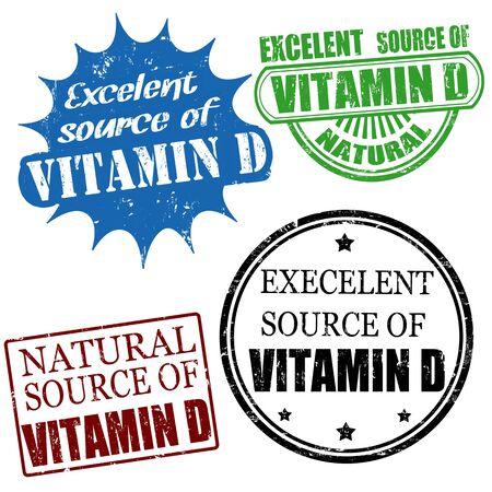 advertize: Set of excellent source of vitamin D grunge rubber stamps, vector illustration Illustration