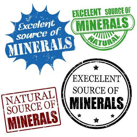 advertize: Set of excellent source of minerals grunge rubber stamps, vector illustration Illustration