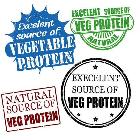 protein source: Set of excellent source of vegetable protein grunge rubber stamps, vector illustration Illustration