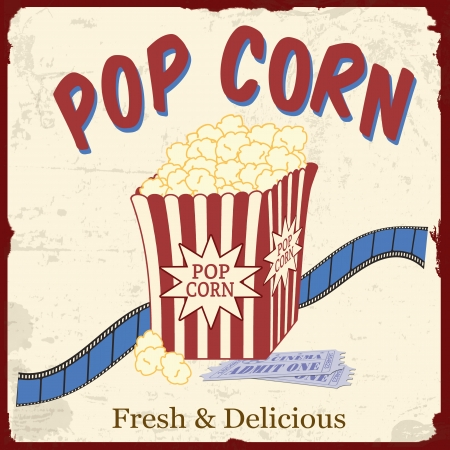 Popcorn with film strip and movie tickets on vintage grunge poster, vector illustration