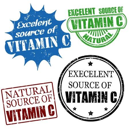 advertize: Set of excellent source of vitamin C grunge rubber stamps, vector illustration Illustration