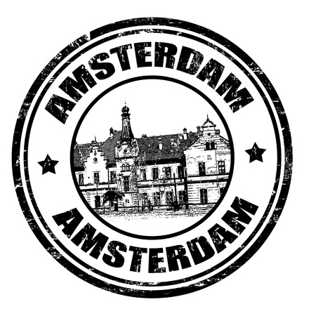 dutch landmark: Black grunge rubber stamp with the name of Amsterdam the capital of Netherlands written inside the stamp