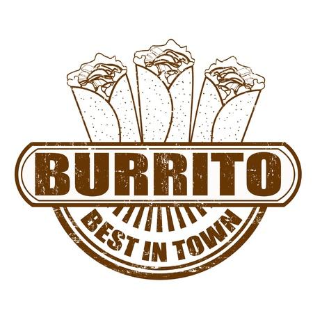 Burrito grunge sello de goma, ilustración vectorial Foto de archivo - 20989227