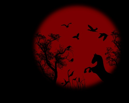 cloudless: Night raven on a tree with red full moon, vector illustration Illustration