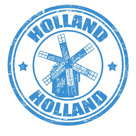Grunge rubber stamp with windmill and the word Holland inside, vector illustration Stock Vector - 20989314