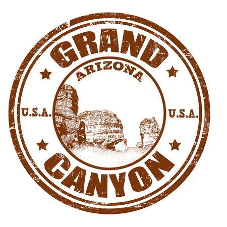 Grunge rubber stamp with the name of the Grand Canyon from United States of America written inside the stamp Çizim