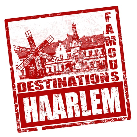 dutch landmark: Red grunge rubber stamp with the name of Haarlem written inside, vector illustration