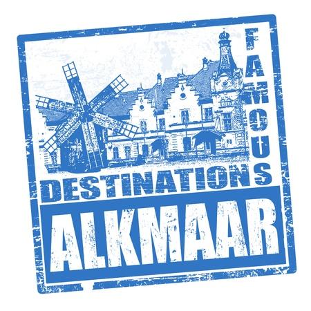 travel destination: Blue grunge rubber stamp with the name of Alkmaar city written inside, vector illustration Illustration