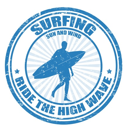 surfer vector: Surfing grunge rubber stamp with surfer silhouette, vector illustration