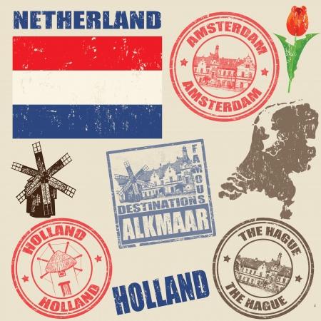 olanda: Set di francobolli grunge con Netherland epoca su sfondo, illustrazione vettoriale