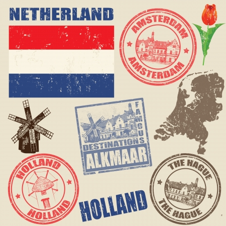 holland windmill: Set of grunge stamps with Netherland on vintage background, vector illustration