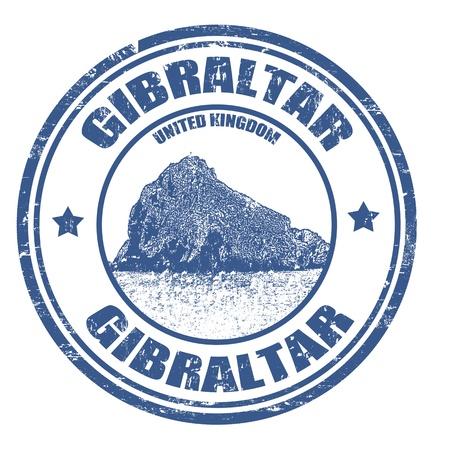 gibraltar: Grunge rubber stamp with rock and the word Gibraltar inside, vector illustration