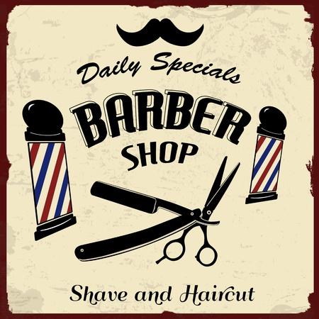 barber shop: Vintage Styled Barber Shop achtergrond, vector illustratie Stock Illustratie