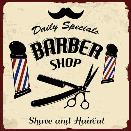 barbero: Vintage Styled Peluquería Tienda de fondo, ilustración vectorial Vectores