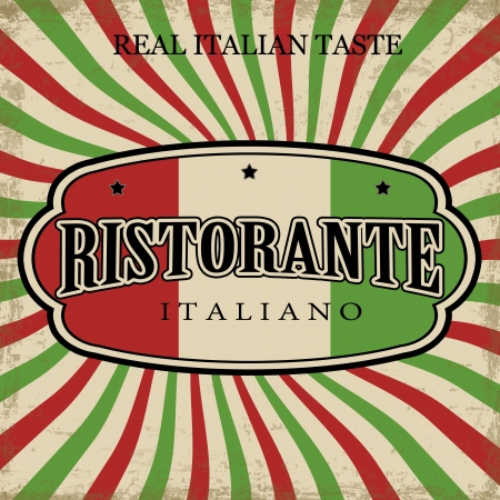 Italian Restaurant vintage grunge poster, vector illustration Vector