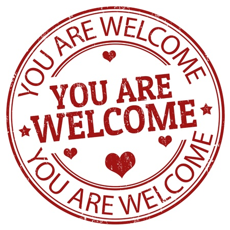 welcome sign: Grunge rubber stamp with  the text You are Welcome inside. Illustration