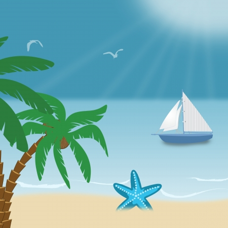 Beautiful tropical seaside  view poster, illustration Vector