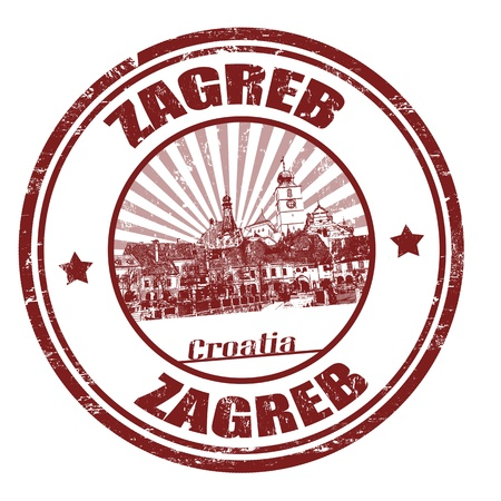 Grunge rubber stamp with the name of Zagreb the capital of Croatia written inside the stamp Stock Vector - 21215710