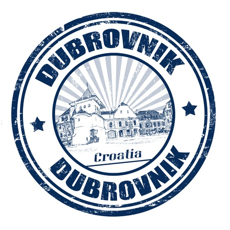 croatia dubrovnik: Blue grunge rubber stamp with the name of Dubrovnik city from the Adriatic Sea on the coast of Croatia