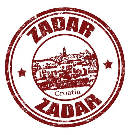 Black grunge rubber stamp with the name of Zadar the city of Croatia written inside