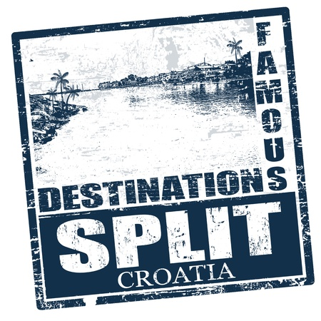 coastal: Blue grunge rubber stamp with the name of Split the city of Croatia written inside