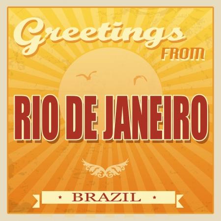 Vintage Touristic Greeting Card - Rio de Janeiro, Brazil, illustration Vector