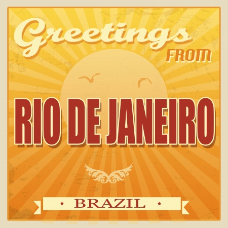 janeiro: Vintage Touristic Greeting Card - Rio de Janeiro, Brazil, illustration