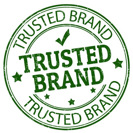 trusted: Grunge rubber stamp with the text trusted brand written inside, illustration Illustration