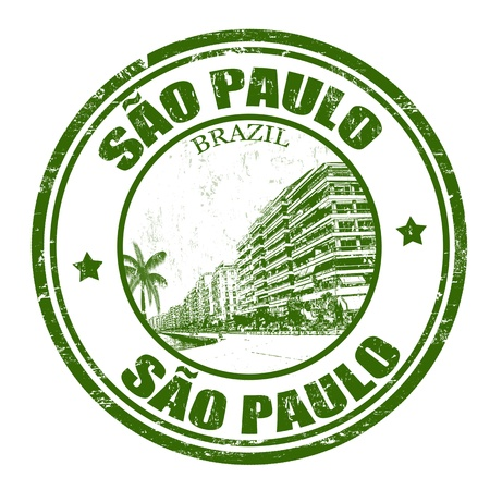 largest: Grunge rubber stamp with the name of Sao Paulo the largest city in Brazil, illustration