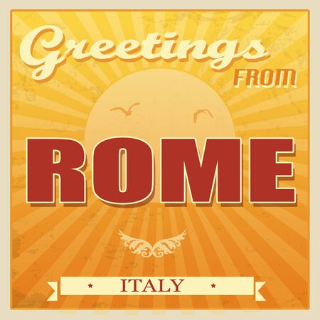 Vintage Touristic Greeting Card - Rome, Italy, illustration Vector