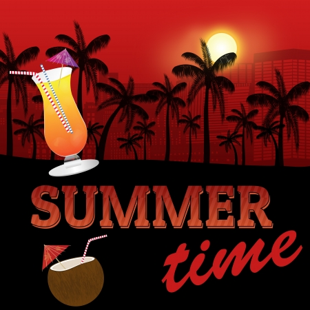 Tropical summer poster background with palm tree silhouette and cocktails, illustration Vector