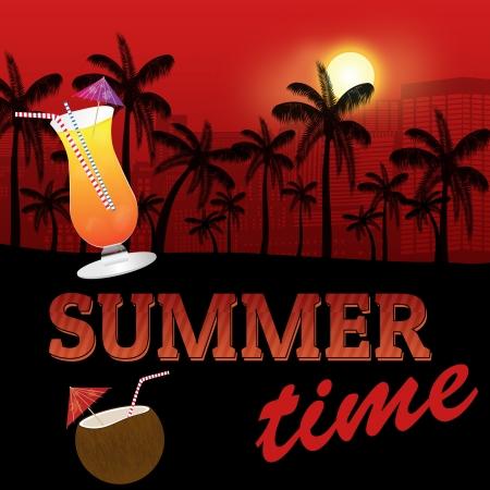 caribbean party: Verano tropical del cartel de fondo con la silueta y c�cteles palmeras, ilustraci�n